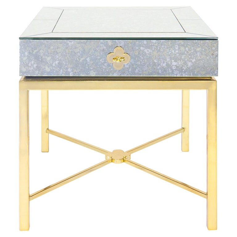 Delphine Mirrored Side Table For Sale