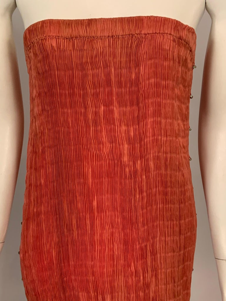 Red Delphos Venezia Fortuny Style Strapless Dress or Long Skirt For Sale