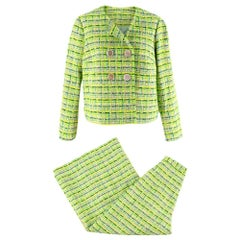 Delpozo Lime Green Woven Jacket and Trouser Suit - Size XS/S
