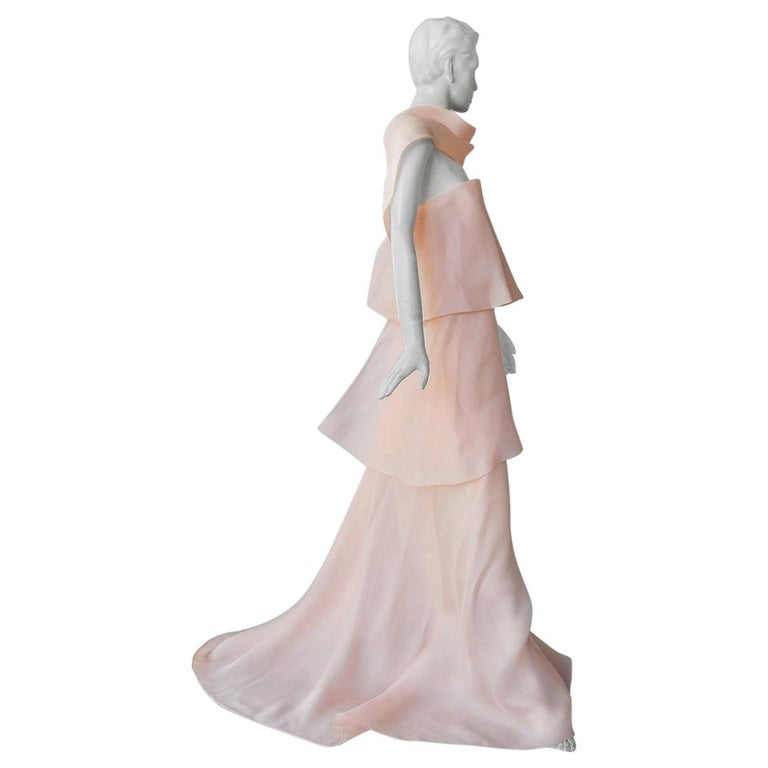 "DELPOZO Pret-a-Couture ""Pretty in Pink"" Ethereal Cascading Dress Gown NWT For Sale"