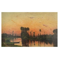 """Delpy Hippolyte Camille """"Edge of river at sunset"""" Panel"""