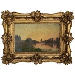 "Delpy Hippolyte Camille ""Lively river bank at dusk"" Panel"