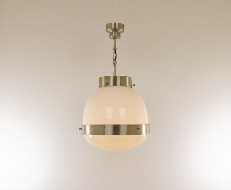 Mid-Century Modern Delta Glass and Nickel Pendant by Sergio Mazza for Artemide, 1960s For Sale