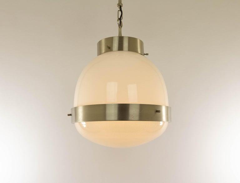 Italian Delta Glass and Nickel Pendant by Sergio Mazza for Artemide, 1960s For Sale