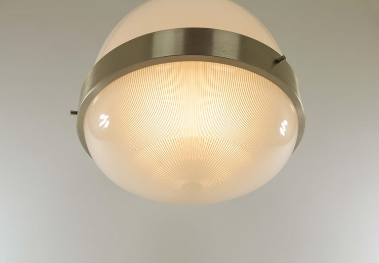 Lacquered Delta Glass and Nickel Pendant by Sergio Mazza for Artemide, 1960s For Sale