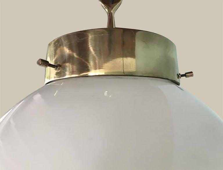 Delta Grande Pendant Light Glass Brass by Sergio Mazza for Artemide, 1960s, Pair For Sale 4