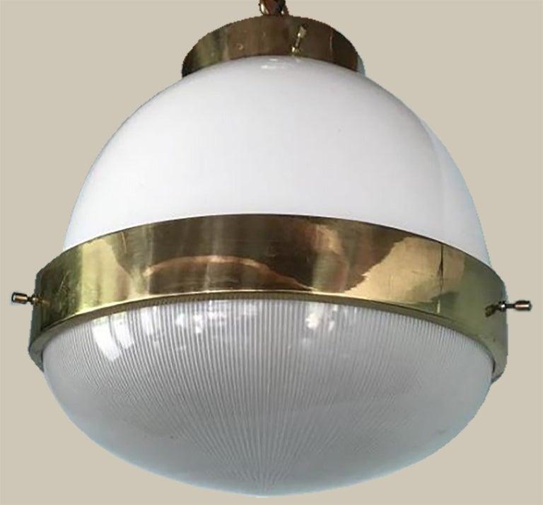 Italian Delta Grande Pendant Light Glass Brass by Sergio Mazza for Artemide, 1960s, Pair For Sale