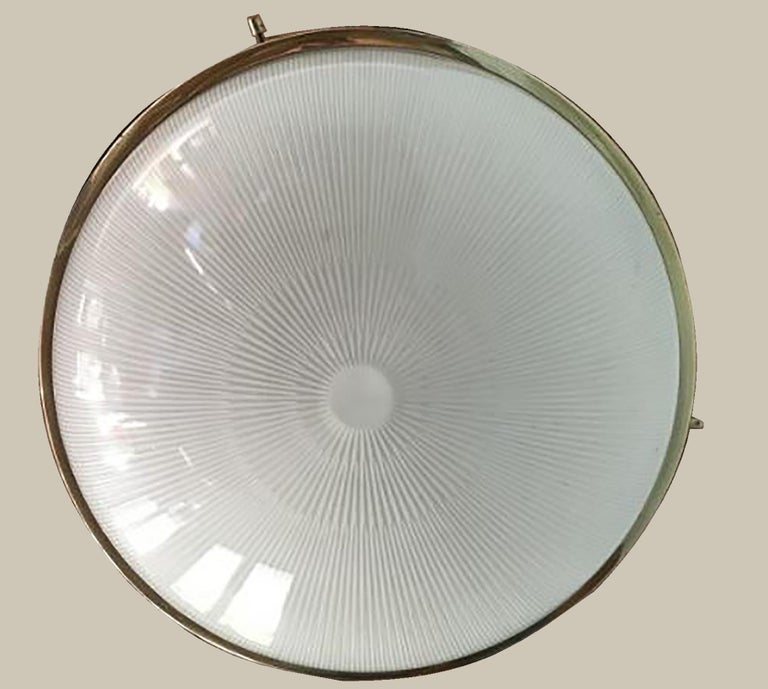 Frosted Delta Grande Pendant Light Glass Brass by Sergio Mazza for Artemide, 1960s, Pair For Sale