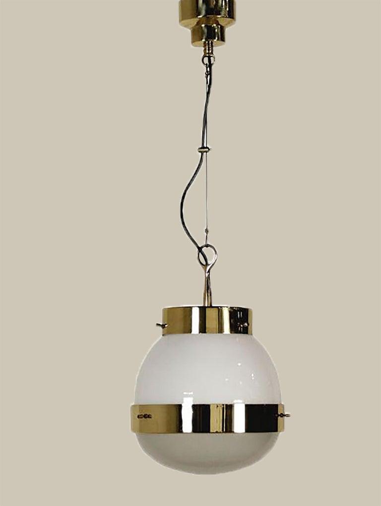 Mid-20th Century Delta Grande Pendant Light Glass Brass by Sergio Mazza for Artemide, 1960s, Pair For Sale