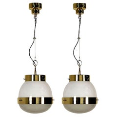 Delta Grande Pendant Light Glass Brass by Sergio Mazza for Artemide, 1960s, Pair