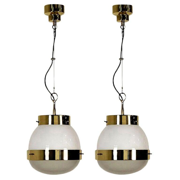 Delta Grande Pendant Light Glass Brass by Sergio Mazza for Artemide, 1960s, Pair For Sale