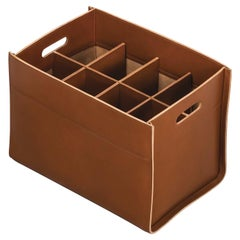 Delta Rectangular 6-Compartment Basket in Caramel Leather