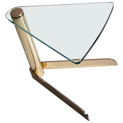 Delta, Side Table in Hand Polished Brass and Extra Clear Glass