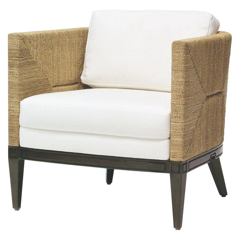 Deluxe Coastal Style Armchair Handcrafted with Natural Woven Rope For Sale