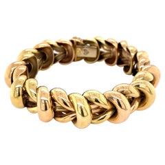 Deluxe Italian Two-Tone Gold Link Bracelet Estate Fine Jewelry