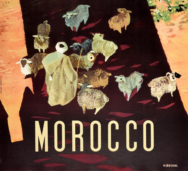 Original Vintage Travel Poster For Morocco Africa Shepherd & Sheep Shadow Design - Black Print by Delval