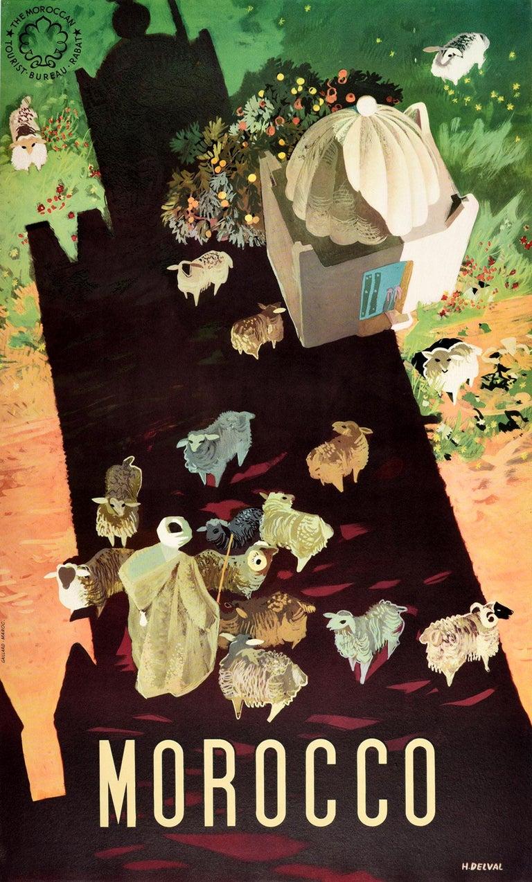 Delval Print - Original Vintage Travel Poster For Morocco Africa Shepherd & Sheep Shadow Design