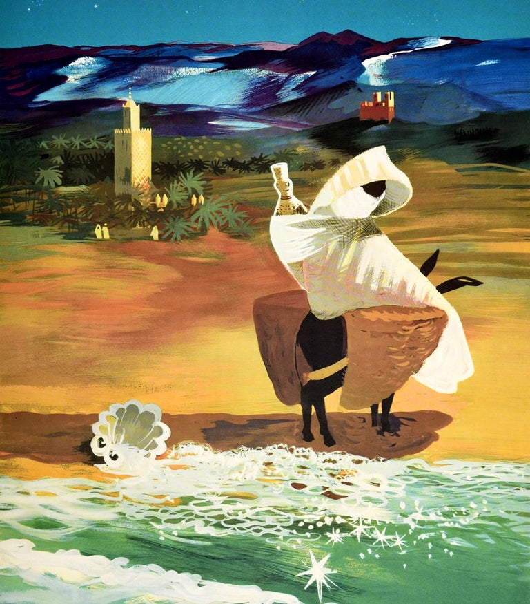 Original vintage travel poster for Morocco issued by The Moroccan Tourist Bureau Rabat featuring a great image depicting a shell on a sandy beach by the sparkling sea water and a person riding a donkey carrying baskets with people by palm trees and