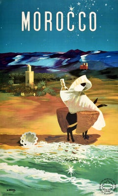 Original Vintage Travel Poster Morocco Africa Donkey Beach Mountains Night Sky