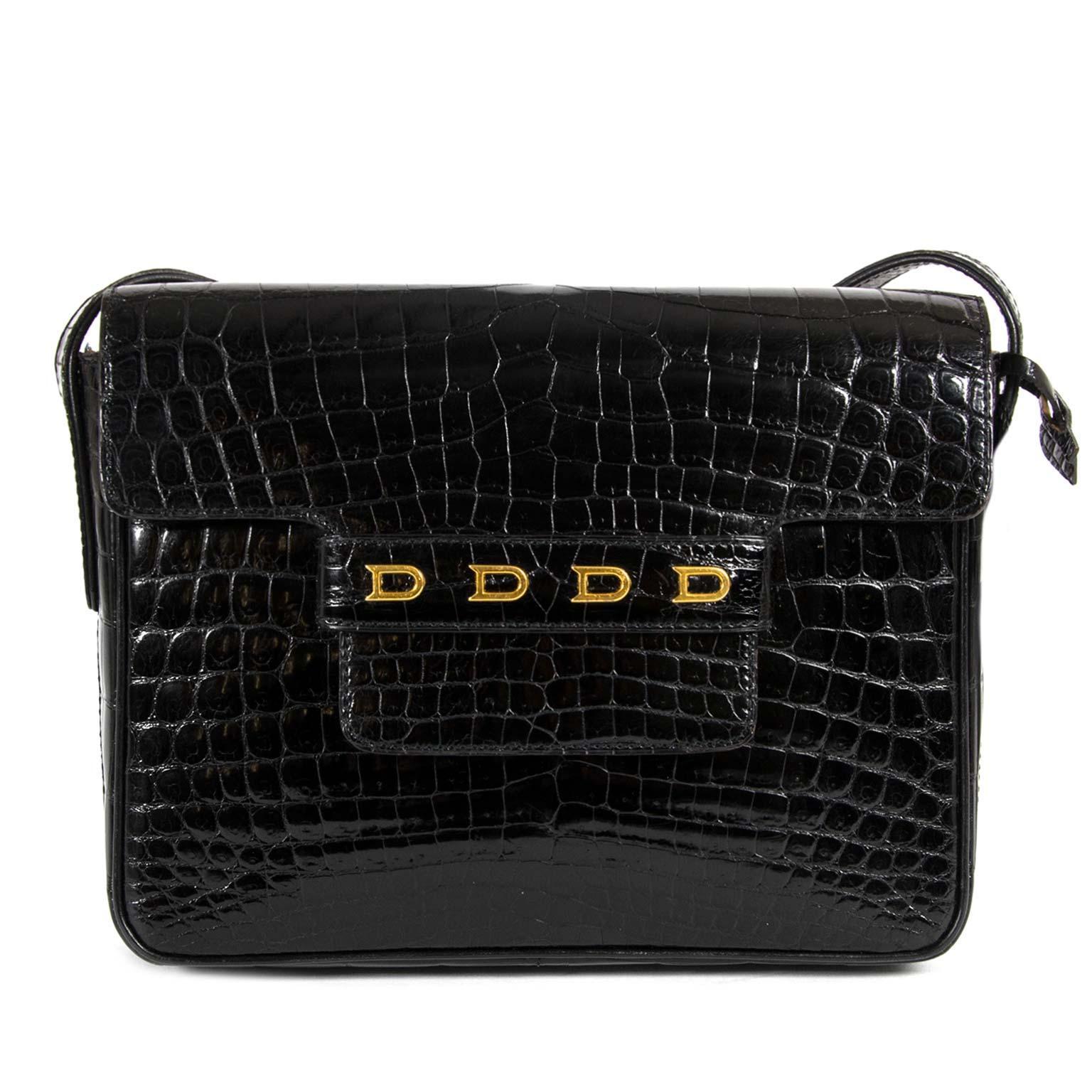 5add3227b033 Delvaux Black Croco D Cross Body Bag at 1stdibs
