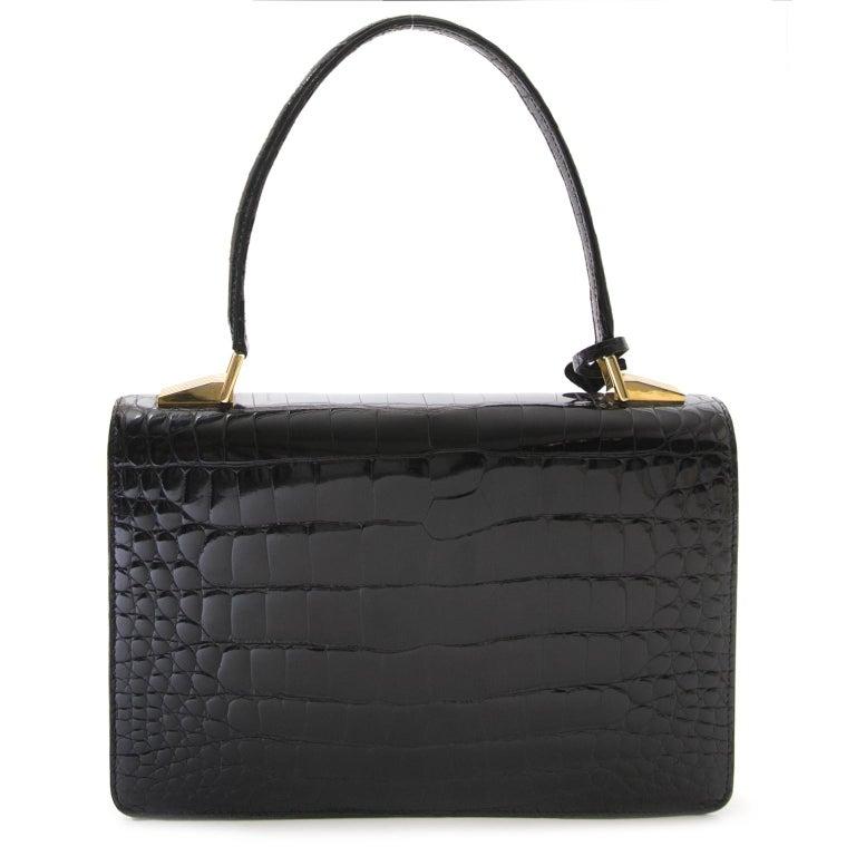 Women's Delvaux Black Croco Handbag For Sale