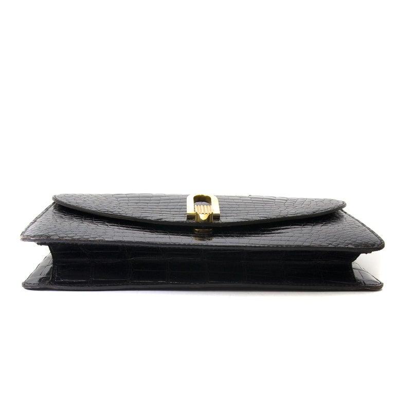 Delvaux Black Croco Handbag For Sale 2