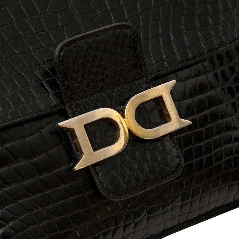 Delvaux Black Crocodile Bourgogne Shoulder Bag For Sale 1