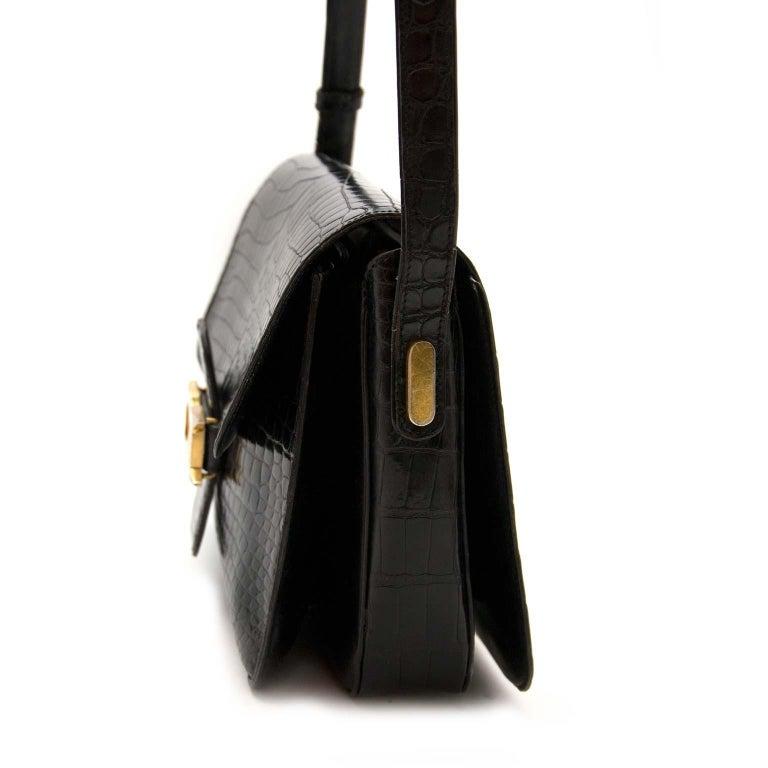 Delvaux Black Crocodile Bourgogne Shoulder Bag For Sale 2