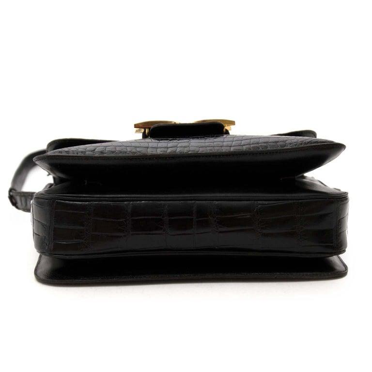 Delvaux Black Crocodile Bourgogne Shoulder Bag For Sale 3