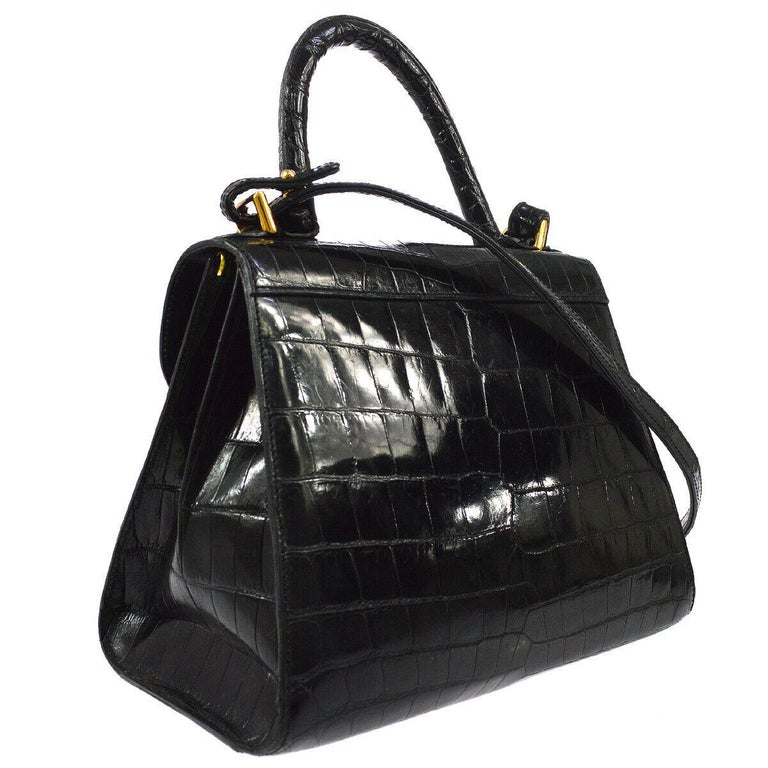 Delvaux Black Crocodile Exotic Gold Kelly Style Top Handle Satchel Shoulder Bag In Good Condition For Sale In Chicago, IL