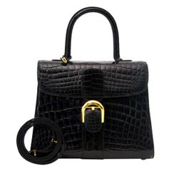 Delvaux Black Crocodile Exotic Gold Kelly Style Top Handle Satchel Shoulder Bag