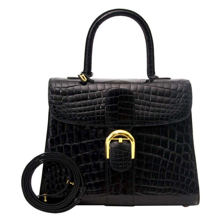 Delvaux Black Crocodile Exotic Gold Kelly Style Top Handle Satchel Shoulder Bag For Sale