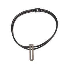 Delvaux Black Leather Necklace Silver D