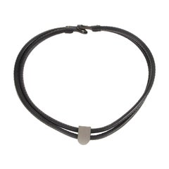 Delvaux Black Leather Silver D Necklace