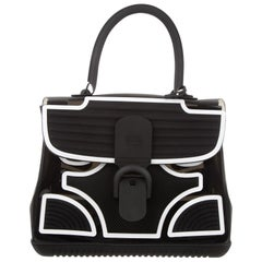 Delvaux Black SeeThrough Top Handle Satchel Kelly Style Flap Shoulder Bag in Box