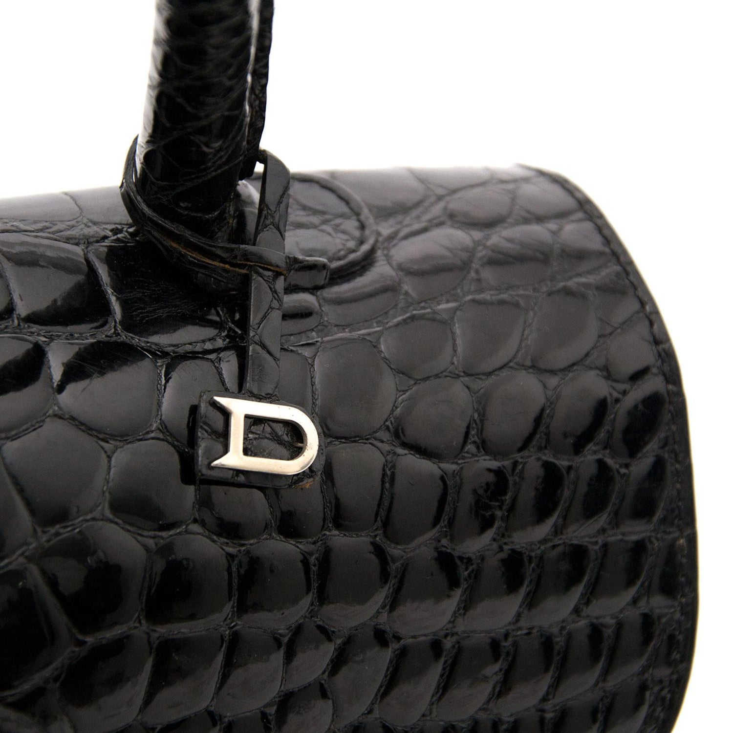 c8bd5342bc Delvaux Black Shiny Croco Brillant MM For Sale at 1stdibs