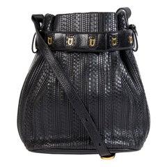 Delvaux Black Toile De Cuir Calicot Bucket Bag