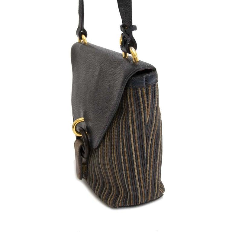 Black Delvaux Blue Toile De Cuir Crossbody Bag For Sale