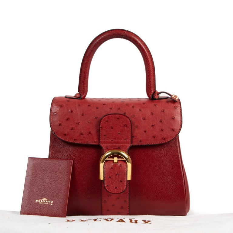 Very good condition  Delvaux Bordeaux Ostrich Brillant PM Handbag   Designed by la maison Delvaux in 1958, the Brillant reflects the innovation of that era. This discontinued and hard-to-get PM model is the perfect size for daily use. Covered in