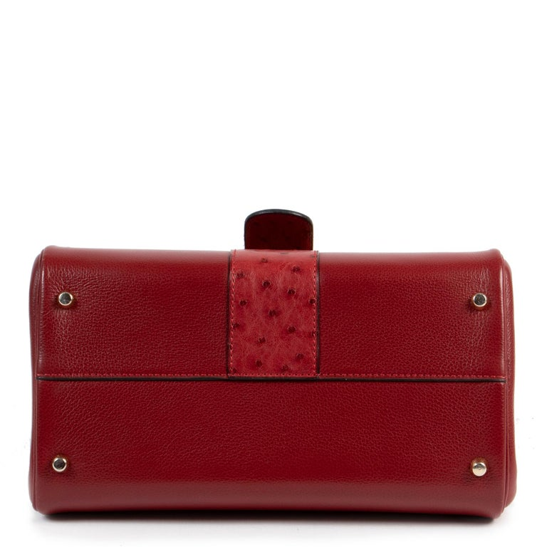 Red Delvaux Bordeaux Ostrich Brillant PM Handbag  For Sale