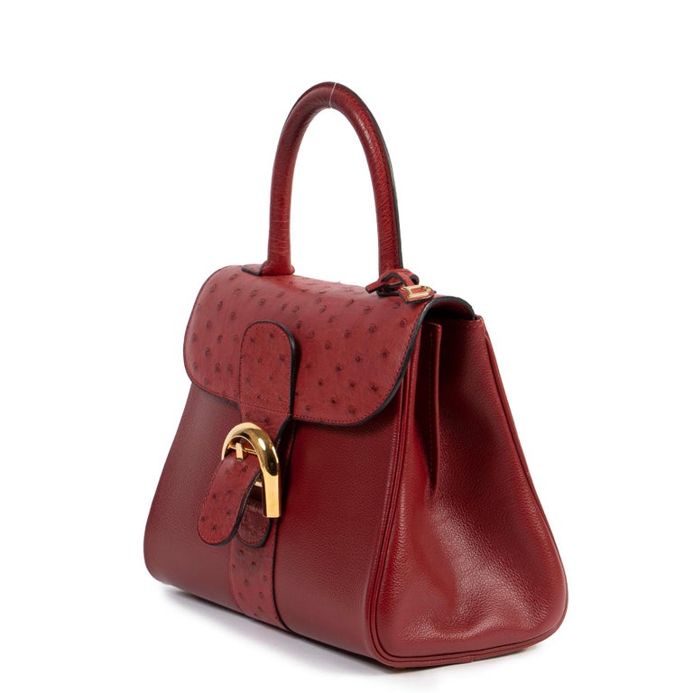 Delvaux Bordeaux Ostrich Brillant PM Handbag  In Excellent Condition For Sale In Antwerp, BE