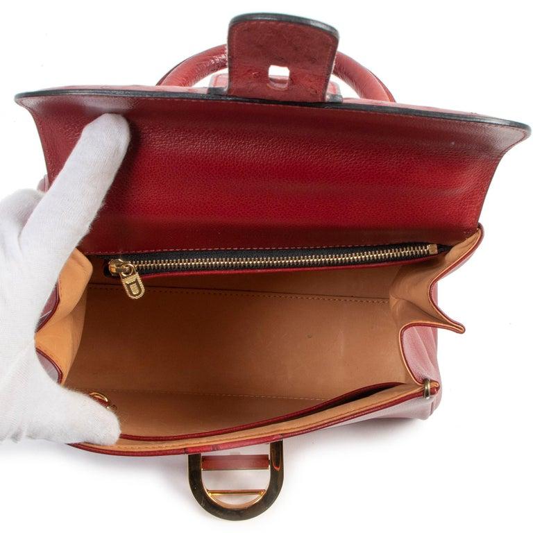 Women's or Men's Delvaux Bordeaux Ostrich Brillant PM Handbag  For Sale