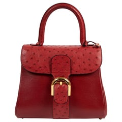 Delvaux Bordeaux Ostrich Brillant PM Handbag