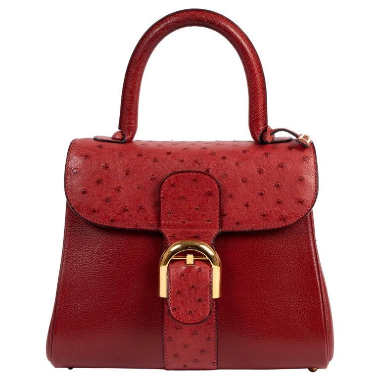 Delvaux Bordeaux Ostrich Brillant PM Handbag  For Sale
