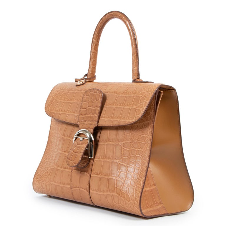 Brown Delvaux Brillant MM Biface Alligator Dolce Végétal For Sale