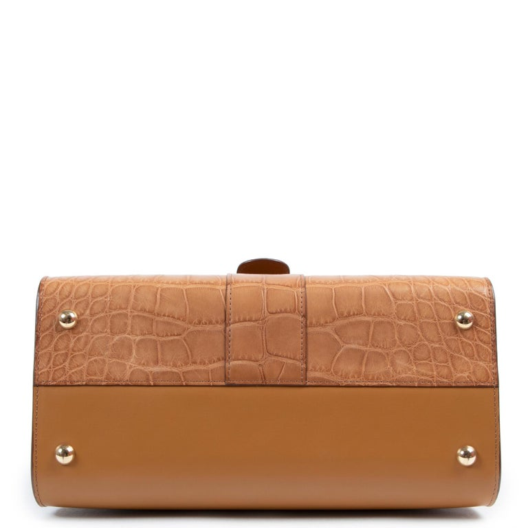 Delvaux Brillant MM Biface Alligator Dolce Végétal In New Condition For Sale In Antwerp, BE