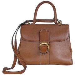 Delvaux Brillant MM Cognac Leather Shoulder Bag