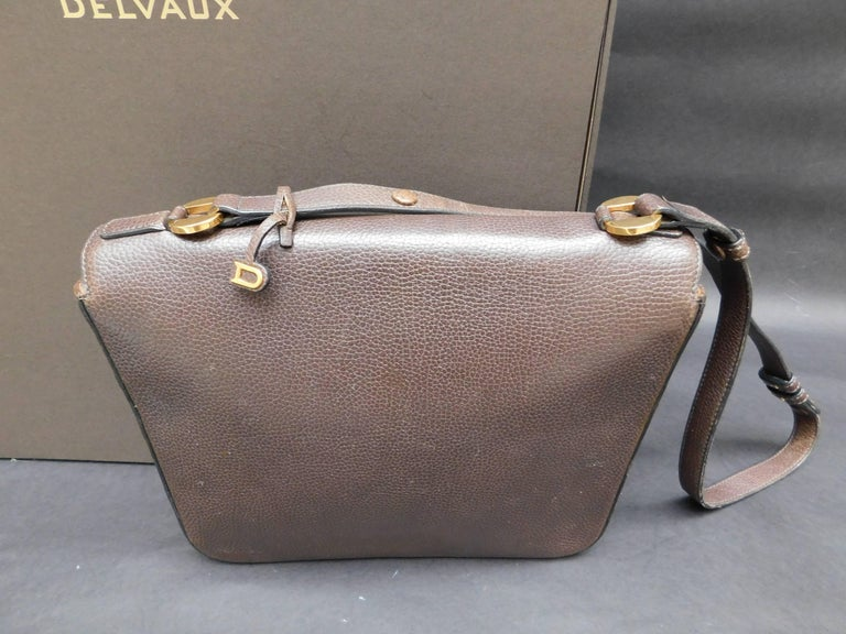 Delvaux Brown Leather Crossbody Handbag  For Sale 2