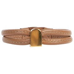 Delvaux Brown Leather Gold D Bracelet