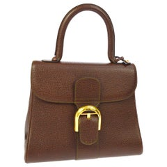 Delvaux Dark Brown Leather Gold Buckle Top Handle Satchel Kelly Style Flap Bag